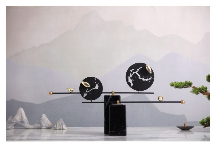 New Chinese Zen Gold Bird Ornament Home Soft Decor Living Room Porch Desktop Luxury Marble Crafts Metal Art Decor Accessories