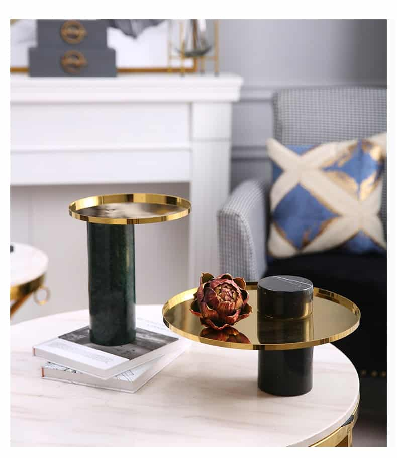 Luxury Home Hotel Living Room Coffee Table Decoration Ornament Modern Black Green White Cylindrical Marble Metal Tray Storage