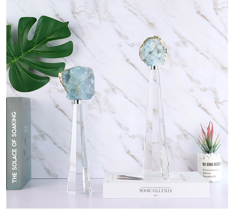 Natural Agate Stone Sculpture With Polygon K9 Crystal Base Figurines Craft Abstract Ornament In Hotel Home Decor Accessories