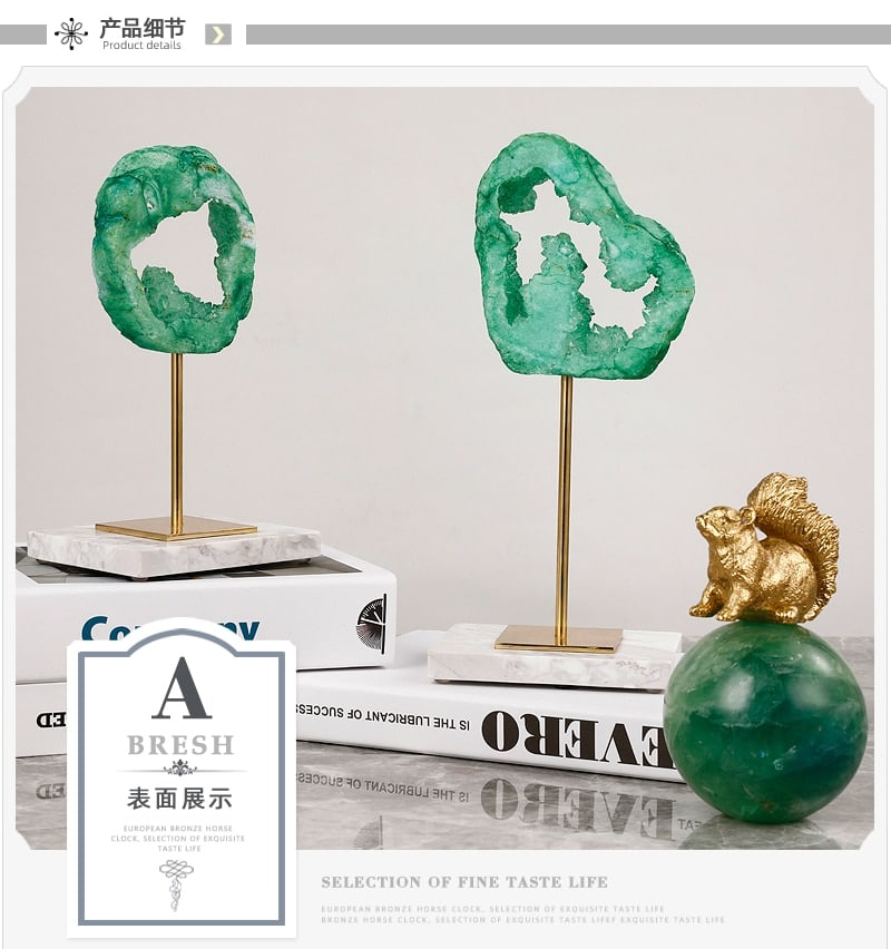 Natrual Green Crystal Spar Disc Figurines Ornaments Marble Crafts Desktop Decor Accessories For Office New House Layout Gifts