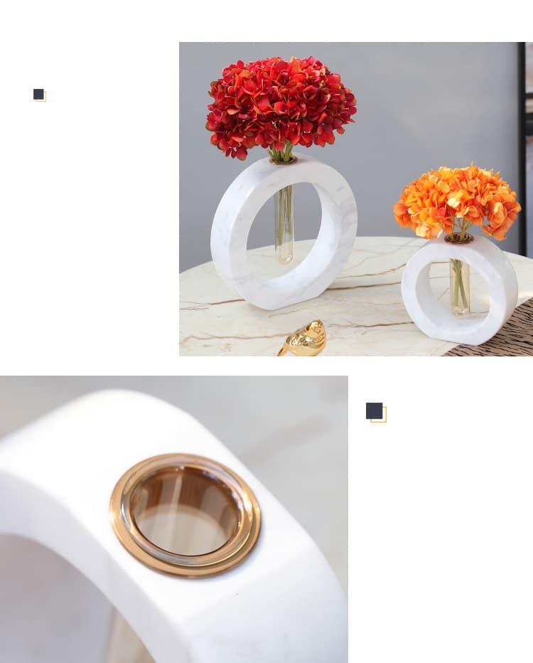 Nordic White Black Marble Round Center Test Tube Flower Countertop Vase Office Desktop Creative Room Home Soft Decor Accessories