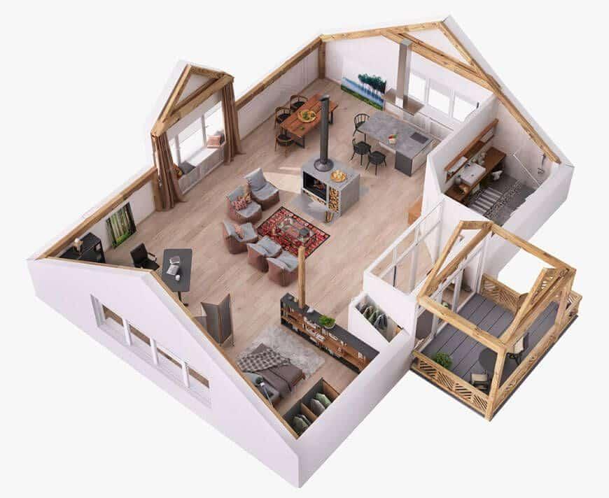 بيت صغير مساحة 120 متر