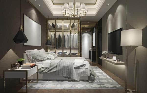أحدث تصاميم خزانة الملابس الفاخرة في غرف النوم
