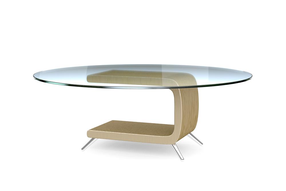 طاولة مستديرة مع سطح زجاجي
