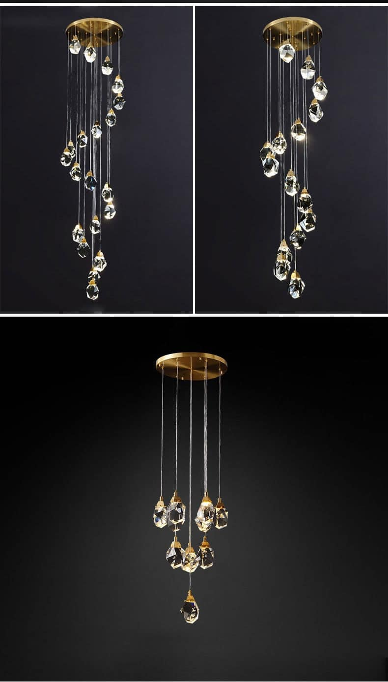crystal cube chandelier indoor lighting for home staircase loft lamp living dining room bedroom kitchen decor spiral hanging lam
