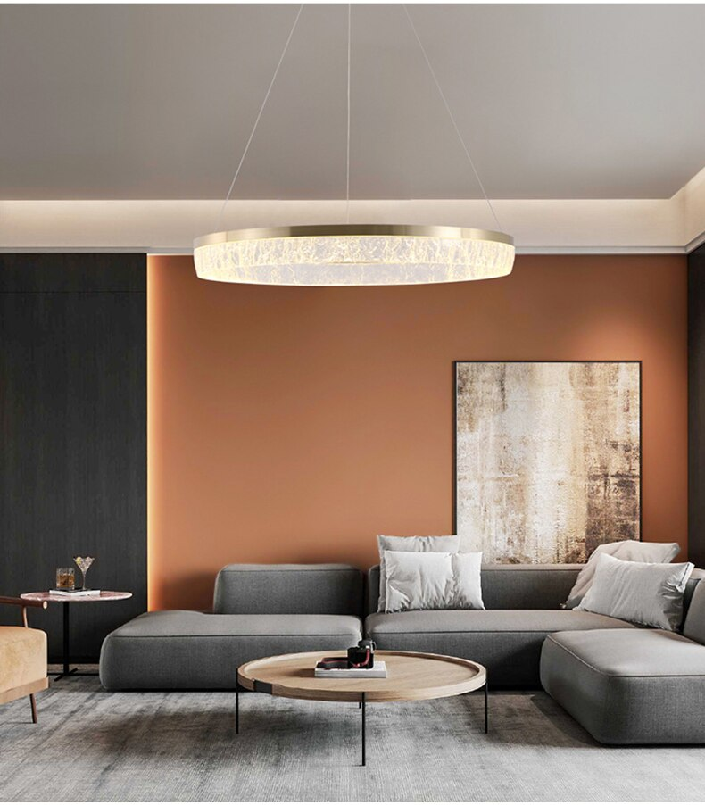 Nordic living room resin ice cube ceiling chandelier post-modern minimalist creative personality round ring bedroom люстра
