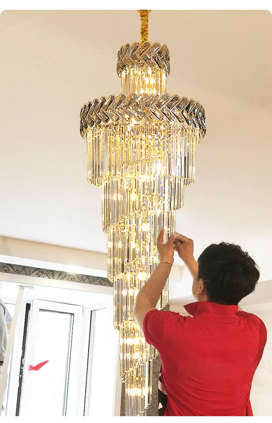 Chandelier in the Hall Living Room Top Long Smoky Gray Crystal Lamps Gold Staircase Lighting Illuminator