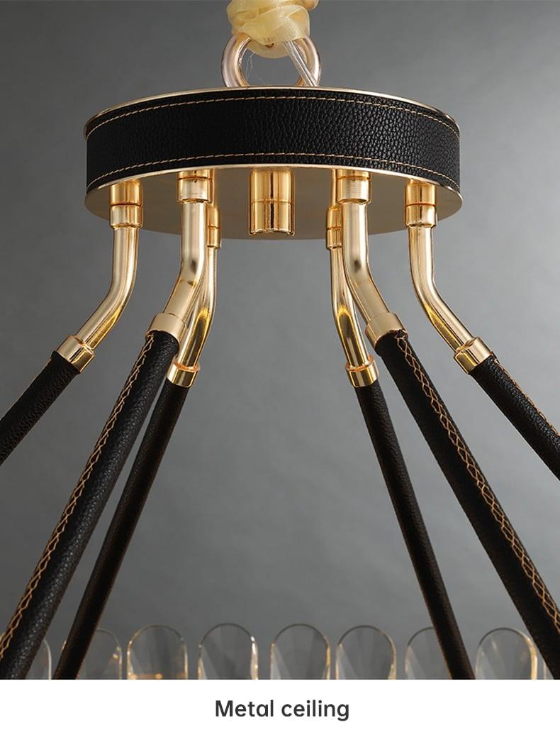 New modern Chandelier Crystal Lamp Round Light luxury Black Metal Stainless Creative design indoor Lighting ceiling chandelier