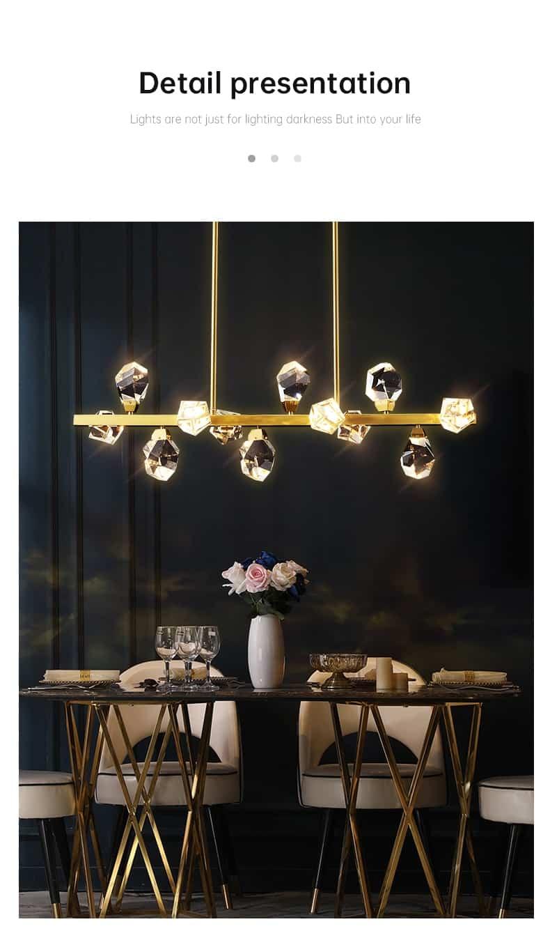 new creative chandelier for living room dining room diamond crystal shape restaurant hanging lamp led indoor lighting home decor