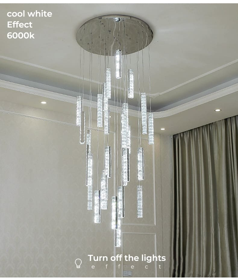 Led modern luxury chandelier crystal staircase lamp chrome-plated golden staircase chandelier hotel villa living room interior l