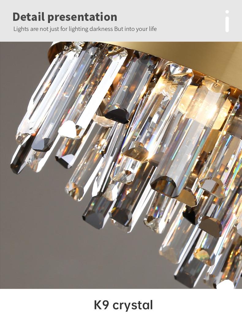 LED crystal chandelier brass gold golden creative light luxury living room lamp post modern art dining room bedroom люстра