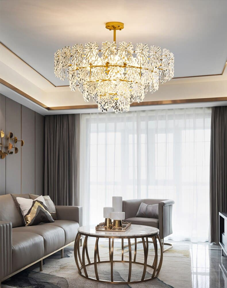 Retro French snowflake glass ceiling chandelier luxury living room ceiling lamp Round shape modern atmosphere dining room lustre