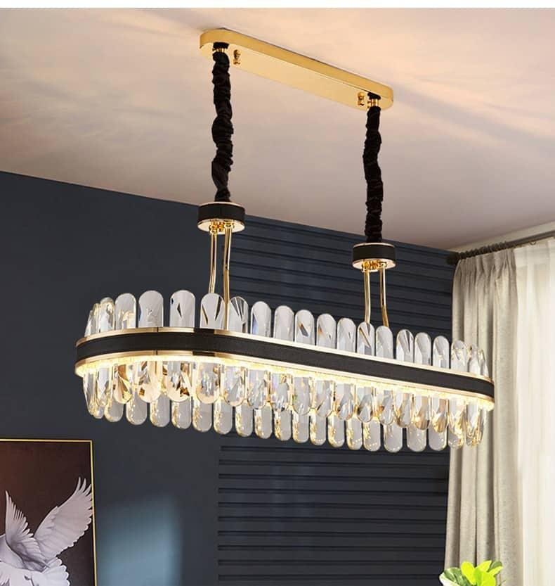 New crystal chandelier modern luxury Lamp Light Oval Light luxury Black Metal Stainless Creative design pendant lamp Lighting
