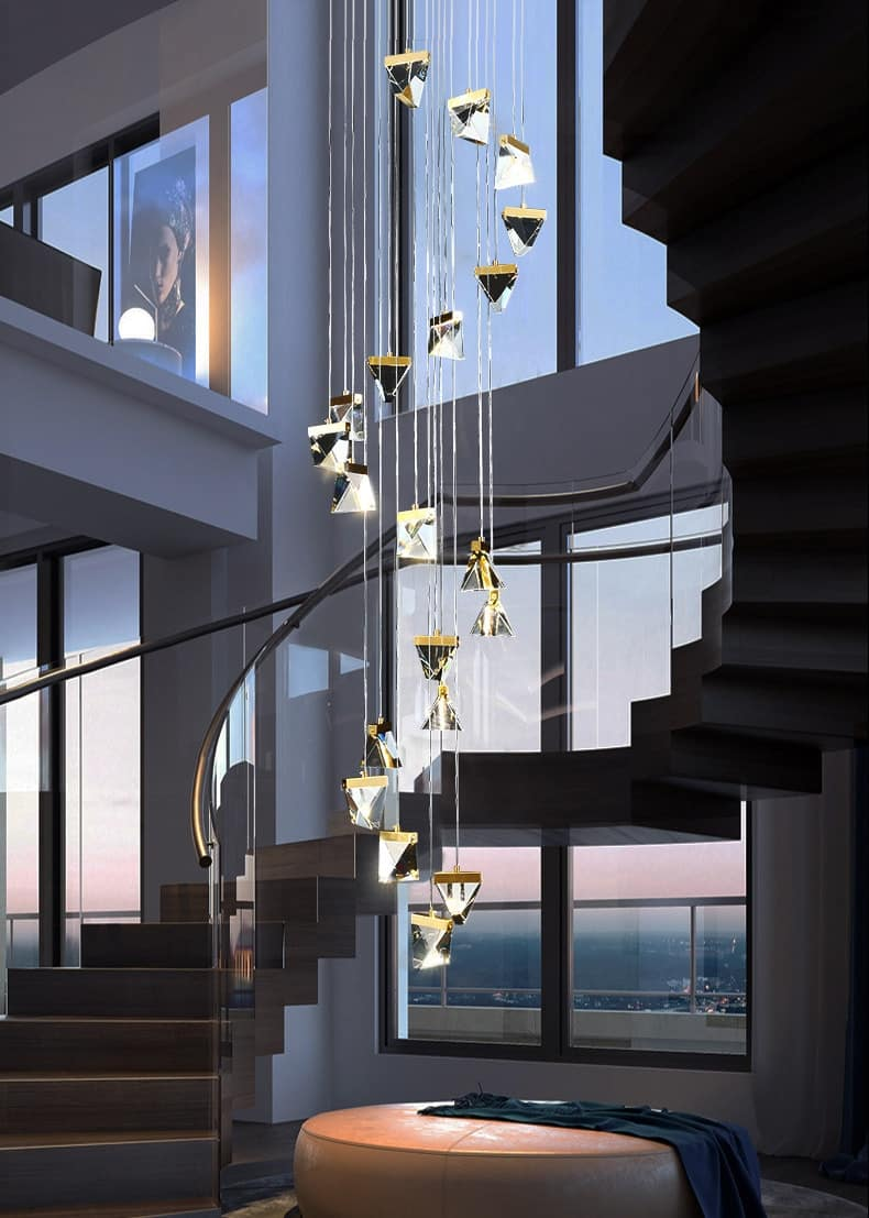 Modern led Crystal Ball Staircase Chandelier Lighting Duplex Building Lobby Decoration Lamp Villa Staircase Long Hanging Lamp