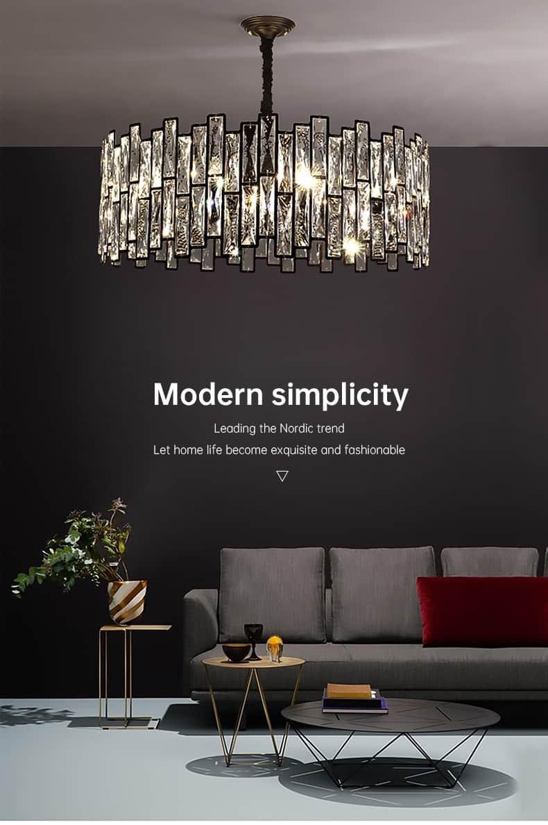 black chandelier for living room kitchen led crystal hanging lamp round rectangle modern nordic indoor lighting люстра