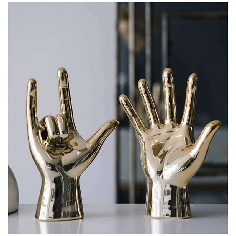 WU CHEN LONG Nordic Creative Gold Plating Finger Art Sculpture Abstract Gesture Statue Ceramic Crafts Decorations For Home R3519