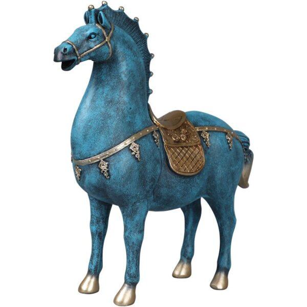 تحفة تمثال الحصان العربي الأزرق المزركش