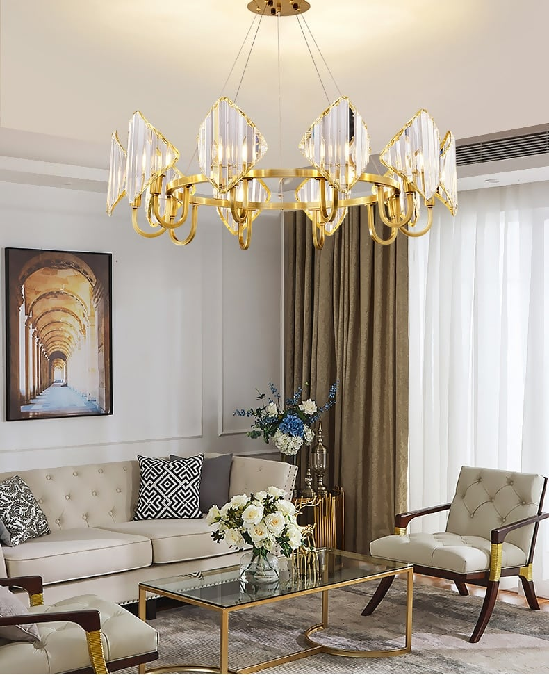modern rectangle chandelier led indoor lighting shield crystal round chandeliers for living room new creative hanging lamp