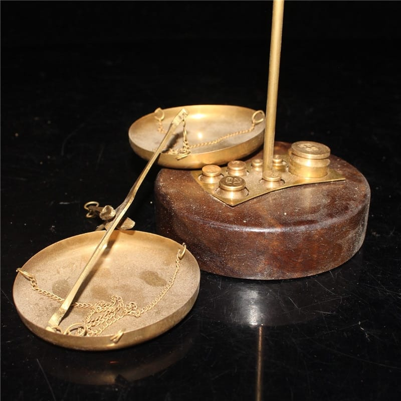 Antique ancient weighing scale silver two balance scale all copper handmade balance sandalwood base collection