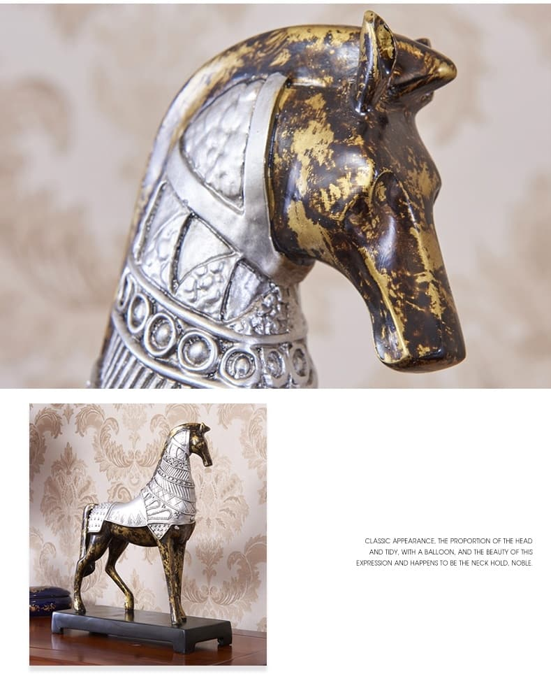 [MGT] European Creative Horse Furnishing Retro Armor Horses Statue Resin Art&Craft Home Decoration Accessories For Living Room