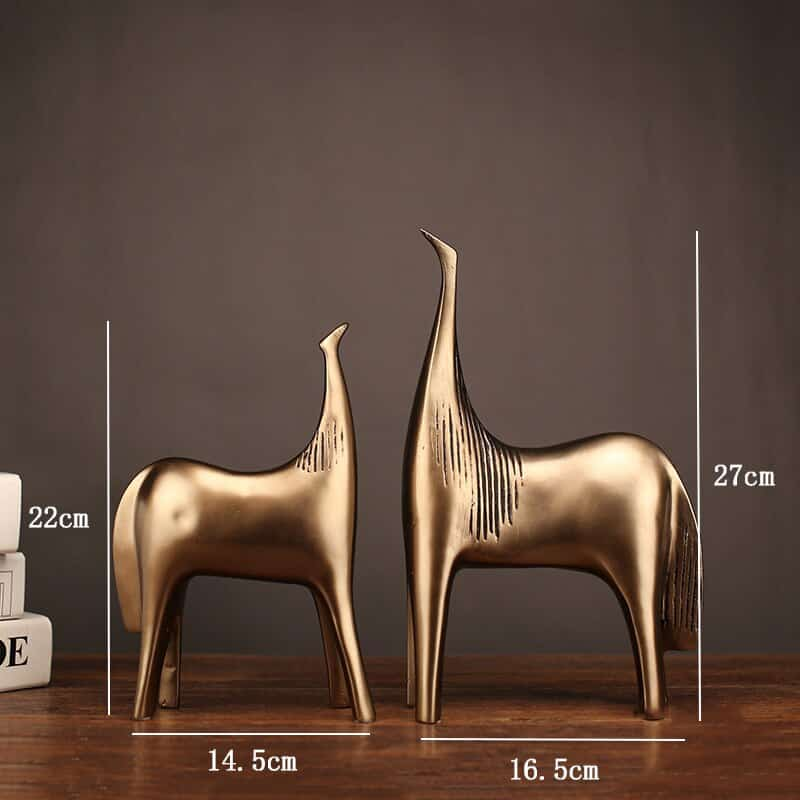 [MGT]2 PCS Glod Abstract Horse Statue Resin Art Statue Sculpture Home Decoration Modern Ornaments Animal Statues Crafts